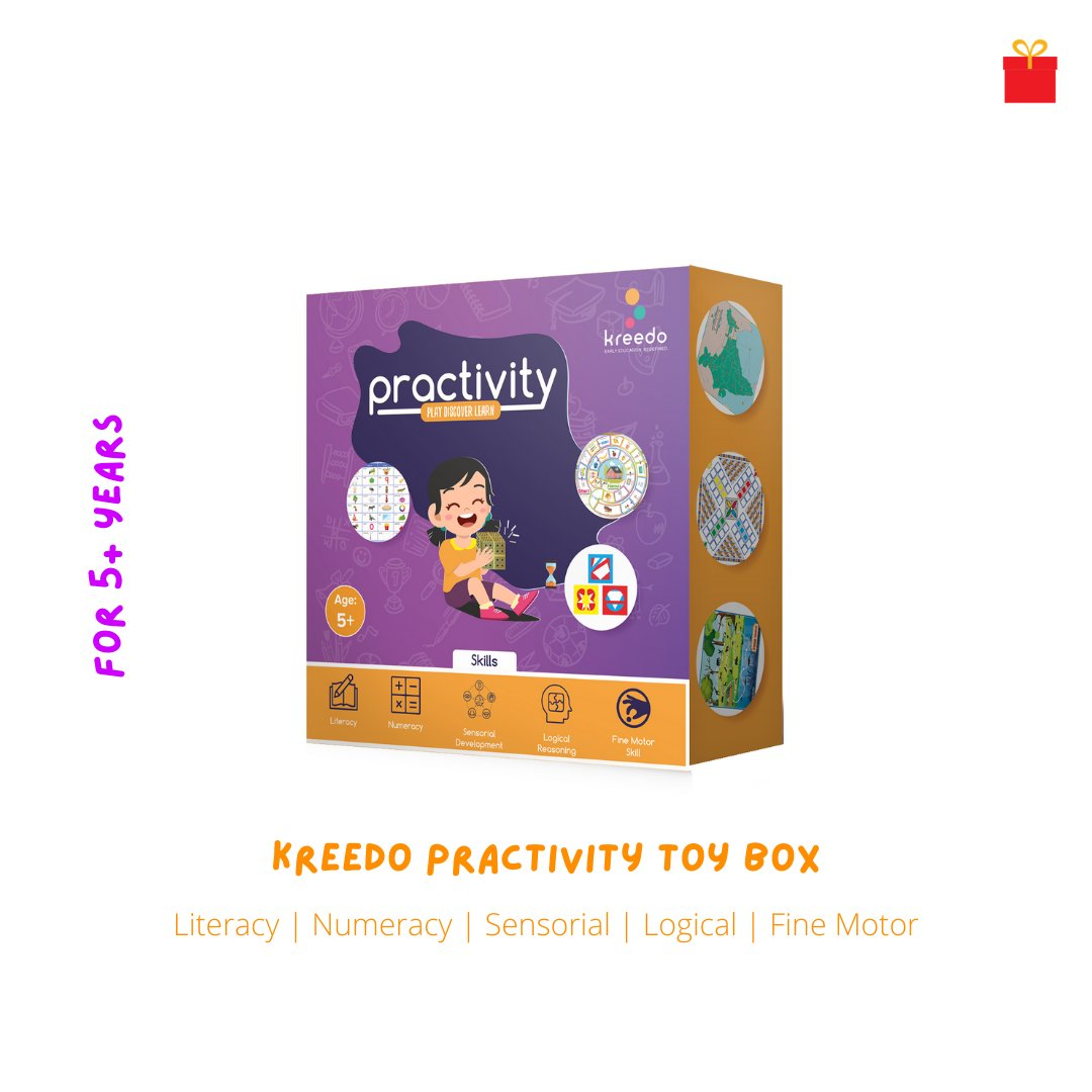 One activity toy box for multiple skill development in the child. Kreedo Practivity toy box for 5+ years available online at https://t.co/kijydL9zKL  #kreedo #practivity3 #practivitytoybox #educationaltoys #toygifts #onlinetoys #spreadsmiles #GiftWaley #YourSmilePartner https://t.co/JRi47uYwyj