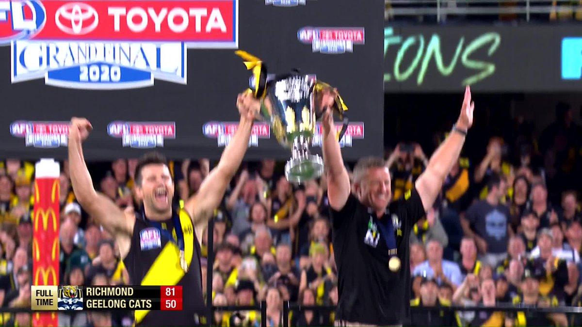 Lift that cup Tigers! 🏆 @7AFL | #AFLGF