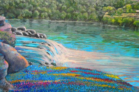 Waterfall, Rivers in Spring https://t.co/lrdiPzGiUI #waterfall #water #river #gicleefineart #aquablue #pink #nature #landscape #colorful https://t.co/lHS1fA7gkC