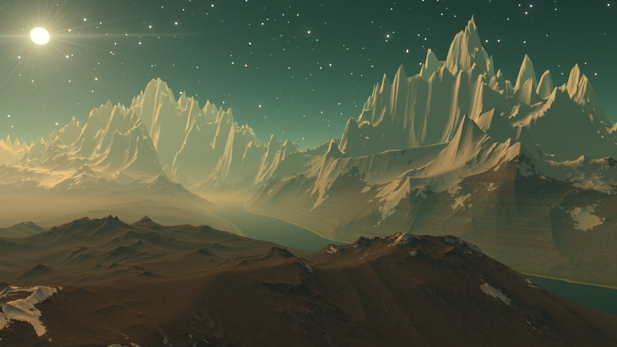 A #river winds its way between icy #mountains on this #exoplanet.  From my #travels in #SpaceEngine. #universe #simulation #space #stars #planets #extrasolar @SpaceEngineSim https://t.co/0WKLWfDYB8