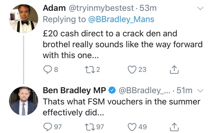 Tory MPs, such as @BBradley_Mans claiming free school meals are a waste of money as the £20 vouchers might end up in brothels..  ..might want to ask if the £100 000 of pounds of taxpayers' money Boris Johnson spent on paying Jennifer Arcuri for sex was a good use of public money. https://t.co/uiTcA9qgwM