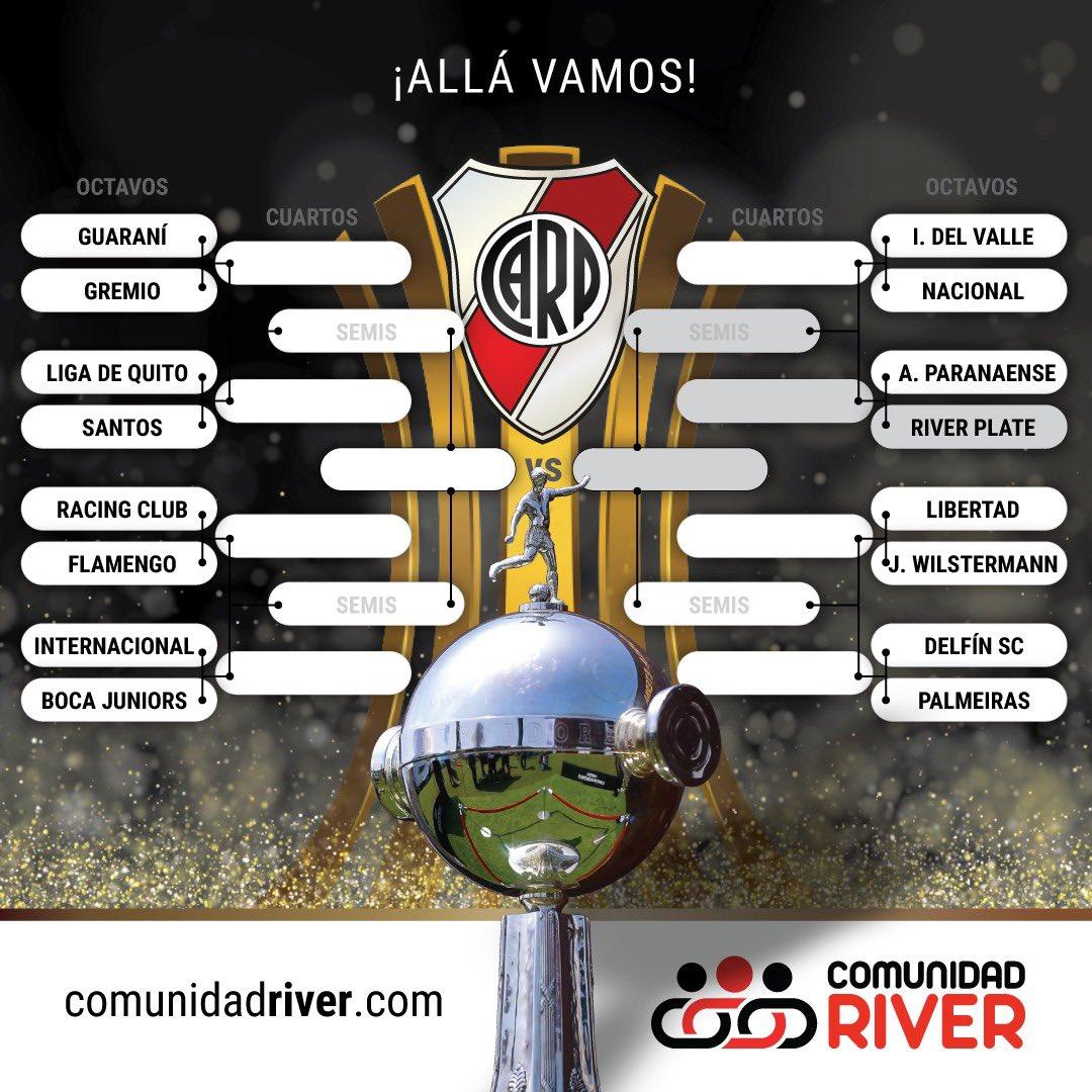 Así quedó conformada la llave para la fase definitoria de la #Libertadores¡ Vamos River !  Allá vamos ⚽️💯🔜🔝🏆    ¿ Que les parece la zona que nos tocó ?    #VamosRiver #River #GloriaEterna https://t.co/1E46BtDjST