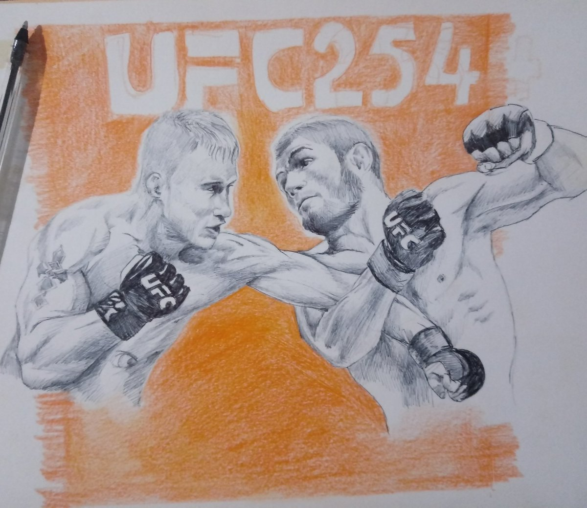 The fight I waited @TeamKhabib vs @Justin_Gaethje. The event  #ufc254 it will be 🔥🔥 It's a quick #drawing I hope you like it 😅😅 #24ottobre #UFCFightIsland6 #ufc254live #khabibvsgaethje #khabibgaethje #arte #art #Pencildrawing #pencilart #pencilsketch #Sketchドロー #sketch https://t.co/u0OnAdjXC5