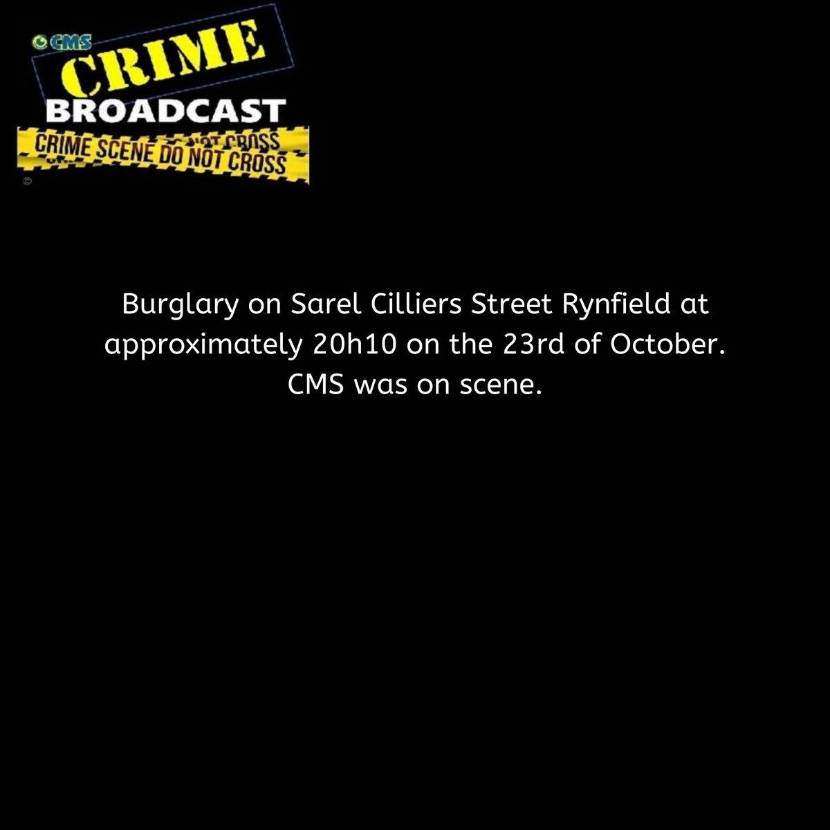Crimebroadcast 2020-10-24 #CommunityRules #Safety  #proudlycms #Patrolling #Precincts #Ekurhuleni #Reaction #Closures #CommunityMonitoringServices https://t.co/lUAGxY3I7K