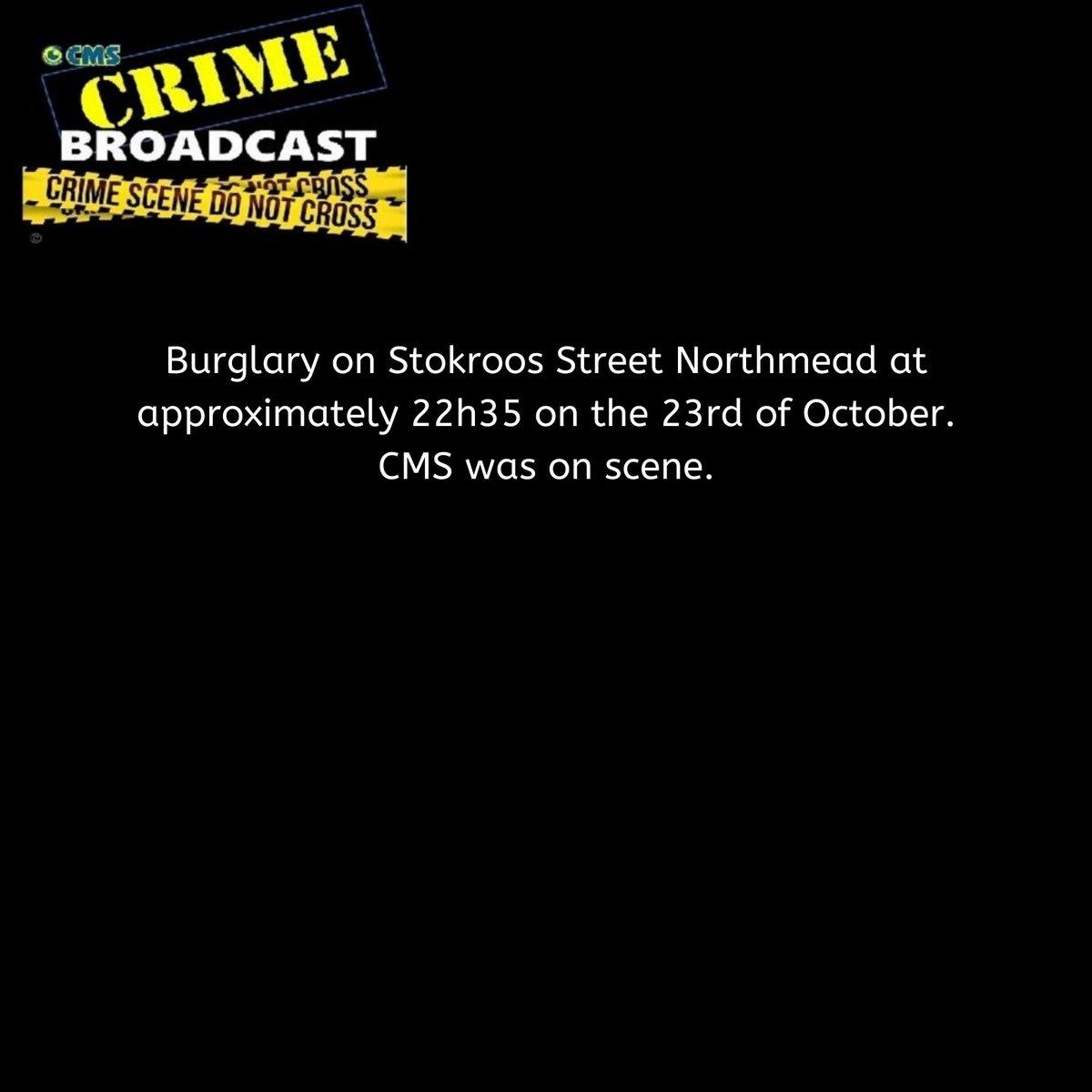 Crimebroadcast 2020-10-24 #CommunityRules #Safety  #proudlycms #Patrolling #Precincts #Ekurhuleni #Reaction #Closures #CommunityMonitoringServices https://t.co/00TC1dUpJ9