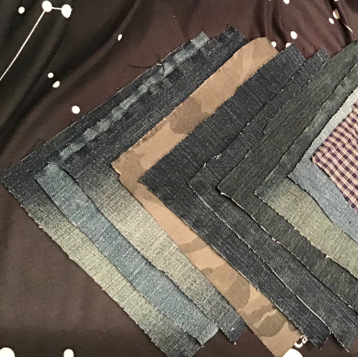 """New in my #etsy shop: Reclaimed Denim & Khaki Squares—6x6""""—12 pieces #denim #reclaimeddenim #squares #quilting https://t.co/O34UGPWpcS https://t.co/x1LaIadXUO"""