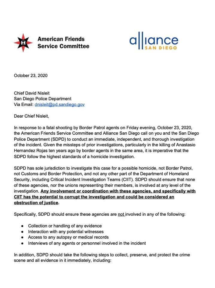 Once again @CBP has taken a life in San Ysidro (San Diego). @AllianceSan @AFSCSanDiego issued recommendations for accountability/transparency. We stand w/ the family of #anastacioherandez whose calls for justice continue & border communities now.