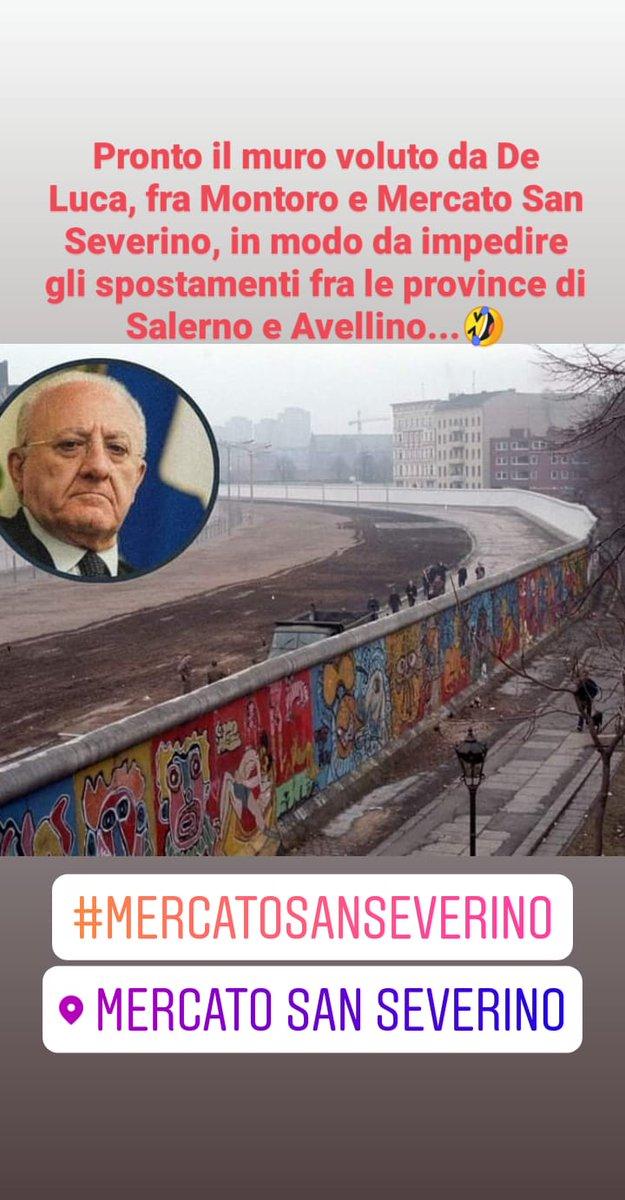 Pronto il muro voluto da De Luca, fra Montoro e Mercato San Severino, in modo da impedire gli spostamenti fra le province di Salerno e Avellino...🤣 https://t.co/DqTuCIz3Kp