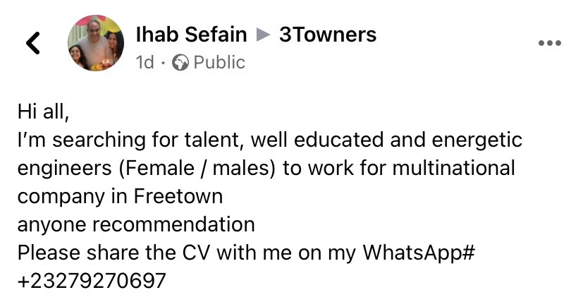Any #engineers looking for work? #SaloneTwitter  A multinational company in #Freetown is looking to employ #mechanical & #electrical engineers. https://t.co/b5PD2kZjeZ