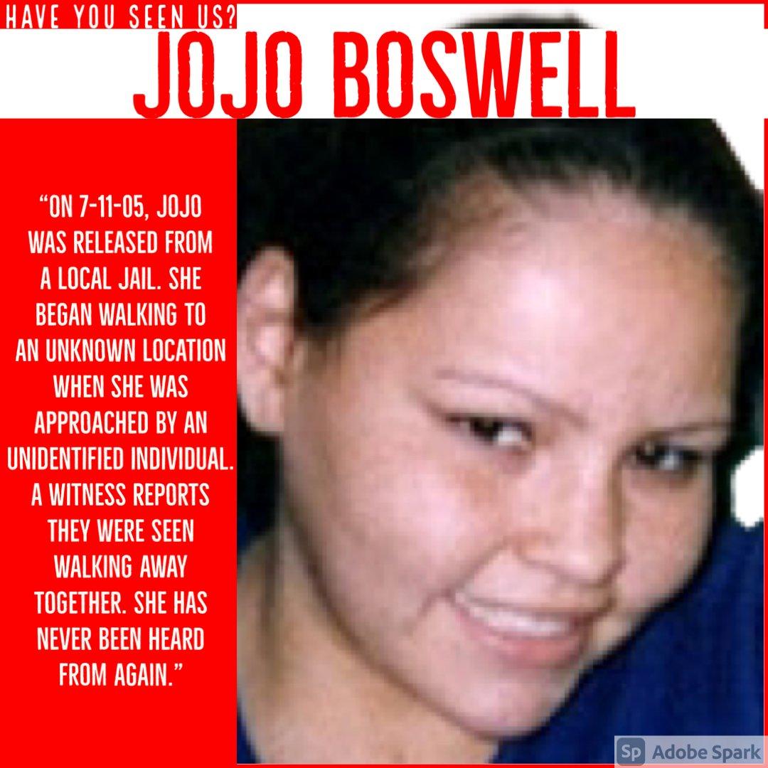 Jojo Boswell: Missing Since July 11th, 2005. #IndigenousWomen #MissingIndigenousWomen #UnsolvedMysteries #Unsolved #MissingInMN #MISSING #Disappeared #HaveYouSeenUs #MN #Minnesota https://t.co/Jtz2Mbkce6
