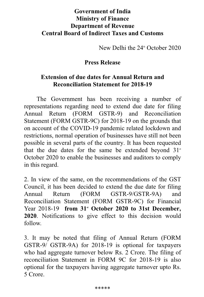 Extension of due dates for Annual Return and Reconciliation Statement for 2018-19 @nsitharamanoffc @ianuragthakur @FinMinIndia