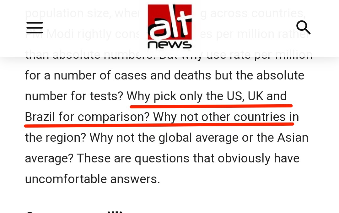 @free_thinker @samjawed65 Alt News started Article by saying why pick only US, UK and Brazil? Why not other countries? India has done 2nd highest testing in the world, But to portray India has done less testing, Alt News itself compared with US and UK. Why not other countries in the region?