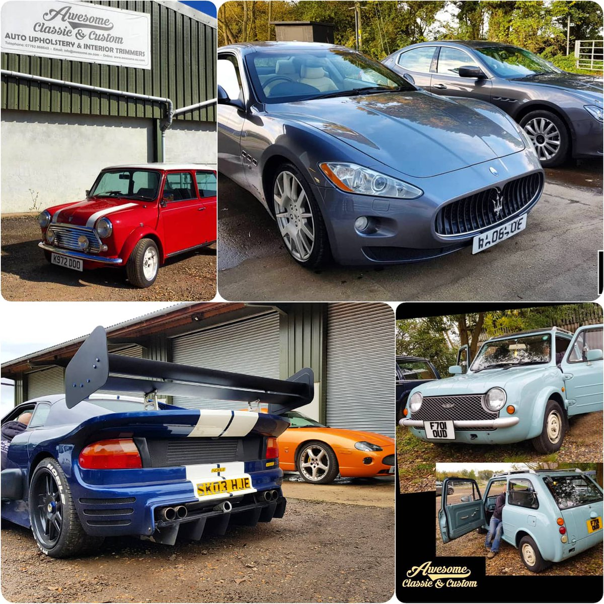 Highlights from a super busy week here at the Awesome HQ. Have a great weekend everyone. #minifans #mini #classicmini #maseratifans #Maserati #nobelcars #supercars #nissanpao #awesome #weekendvibes #cars #carinteriors #Automotive #cartrimmers #autoupholstery https://t.co/Za1H4pUvOv