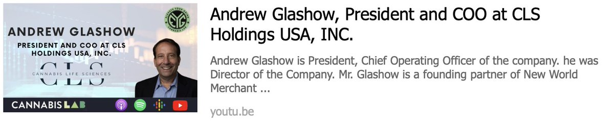 $CLSH  Andrew Glashow, President New Video 1 https://t.co/YK6H5AYnZ5  #cannabis #marijuana #CBD #wsj #nytimes #business #reuters #IHub_StockPosts #forbes #marketwatch #cnn #bet #foxnews #latimes #realdonaldtrump #barronsonline  #cnnmoneyinvest #ESPN #WGN #Accredited #Investors https://t.co/6DDhbWSUGL