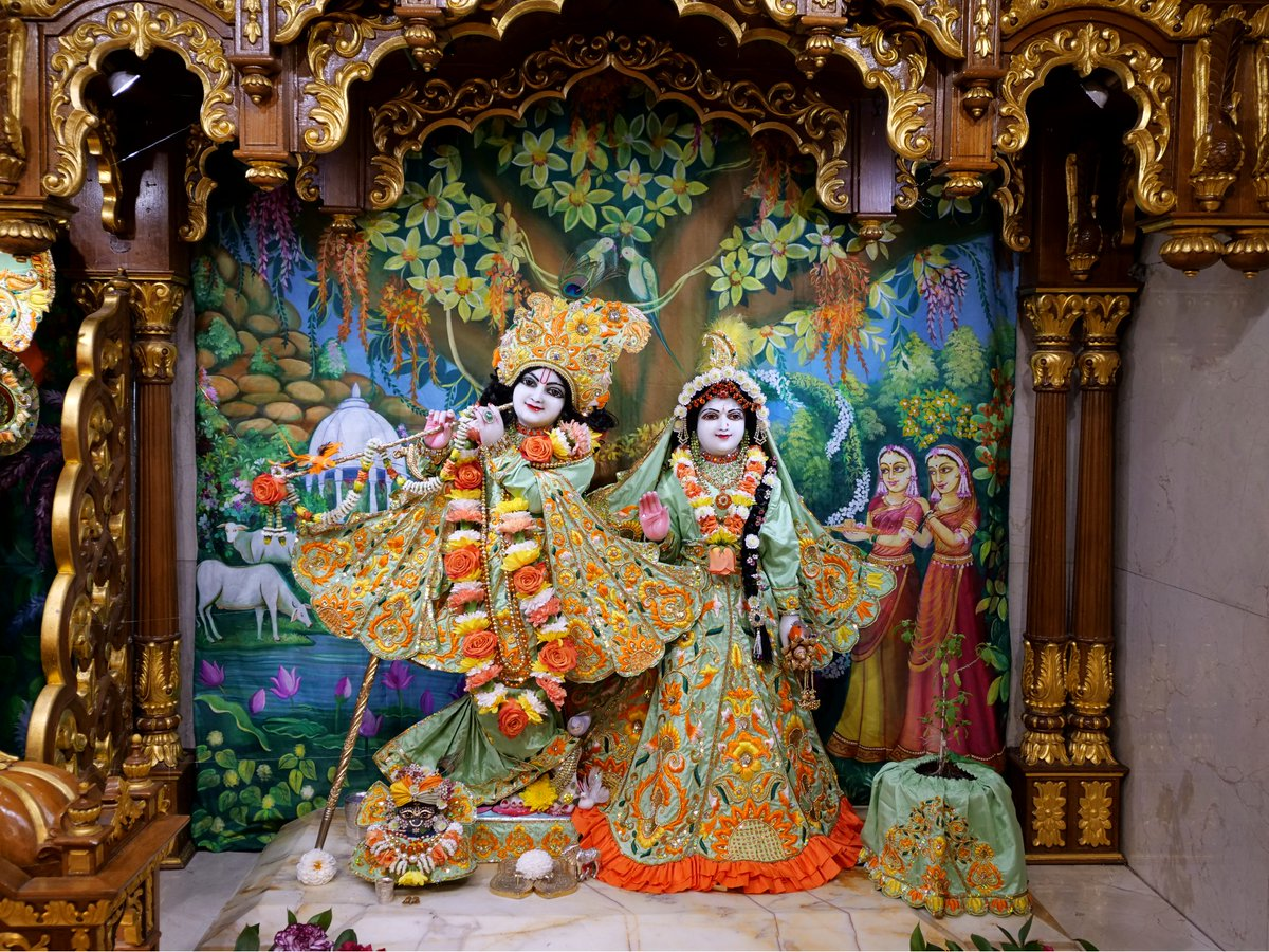 Today's Deity darshan in Orange & Pale Green outfit #krishna #radharani #radhakrishna #girigovardhan #gauranitai #jagannath #baladev #subhadra #srilaprabhupada #deities https://t.co/ZfDSdvN08R