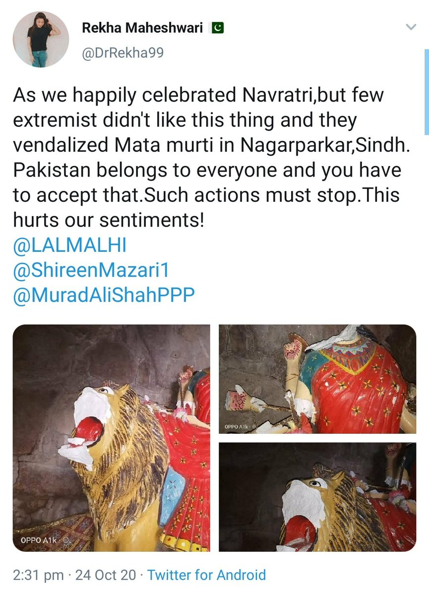 Dear @Ahmad_Shakeel, you quoted video of Rekha to show how Happily Hindus are celebrating Navratri in Pakistan. But why havent you shared her tweet after this happened? twitter.com/Ahmad_Shakeel/…