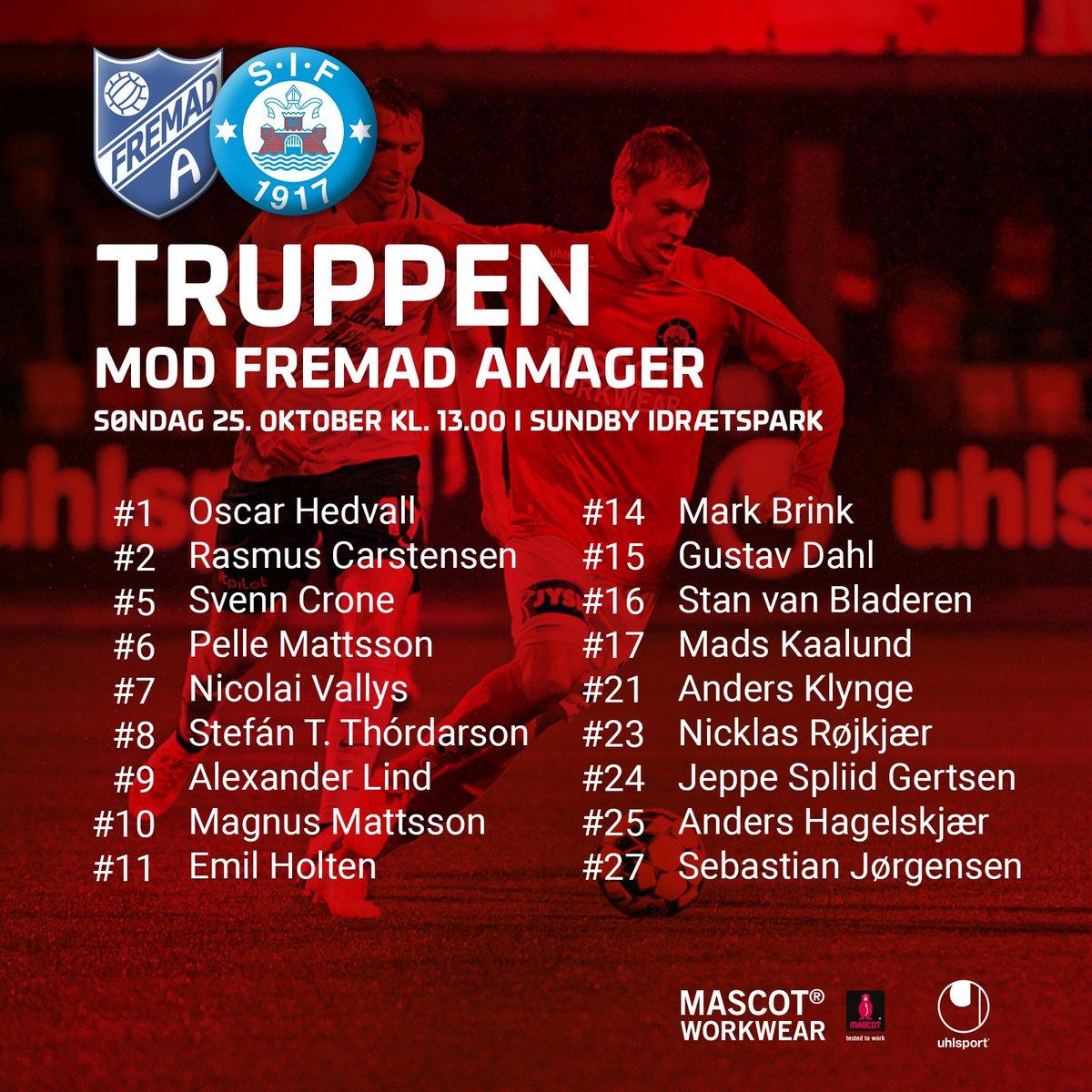 Kent Nielsen har udtaget 18 spillere til søndagens kamp i Sundby Idrætspark. Det er samme trup, som i torsdags mod Viborg. Kampen spilles kl. 13.00 og kan streames på Viaplay. #frasif #1div https://t.co/u06aijV3mt