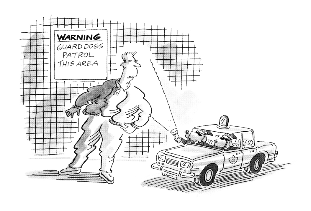 """Today's PUNCH Cartoon Classic. David Haldane 1990. You know those signs: """"Guard dogs patrol this area""""? Well..... #security #patrolling #animals #patrols #protection #secure #deterrents #trespassers #trespassing https://t.co/Jn7L0UGIjl"""
