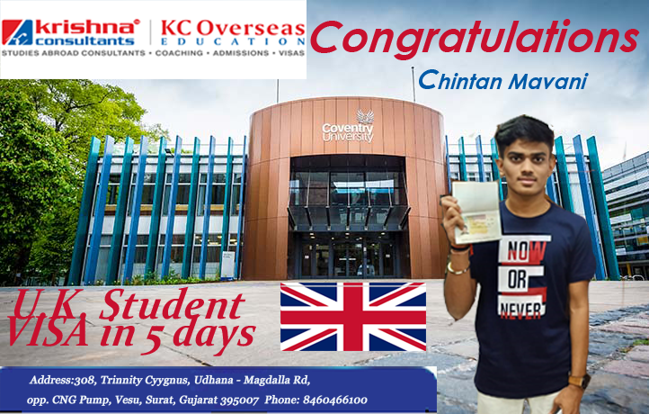 @kc_surat wishes Heartiest Congratulations to our Student @chintan_mavani_ who got his student visa within a span of 5 days😉  #kcsurat  #KrishnaConsultants #KCOverseasEducation #missionbeginagain #COVID19 #uk #StudyAbroadUpdate #StudyAbroad #StudiesOverseas #conventryuniversity https://t.co/7RNtCNZtjO