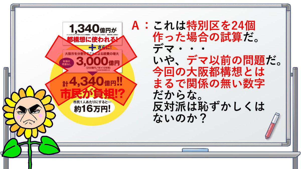 Q:反対派が都構想で4340億円かかるって言ってるけどホント⁉️💥衝撃💥自民党が独自試算として出してた数字は、なんと‼️特別区を24個作った場合の試算を基にしてたんだって😱😱ブログに詳しく書いてくれてるからぜひ読んでみてね😆#大阪都構想 #デマスナイパー