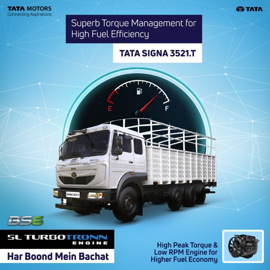 Tata Signa 3521.T ensures high mileage with the 5L Turbotronn Engine that offers higher peak torque with flat torque over a wide rpm band (from 1000-1800r/min) and higher peak power at lower rpm bringing you fuel savings on every trip. #TataMotorsBS6Trucks https://t.co/oU9ANiPegq