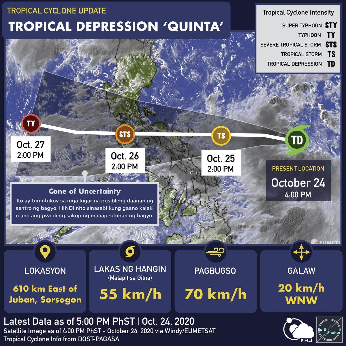 #CycloneUpdate TD 'QUINTA' inaasahang lalakas pa bago dumaan ng Southern Luzon sa Lunes  Bahagyang umangat ang forecast track para sa sa Tropical Depression #QuintaPH. Ito ay inaasahang mararamdaman sa Metro Manila habang dumadaan ito sa Batangas sa LUNES (Oct. 26). [THREAD] https://t.co/wSpQzEl1ic