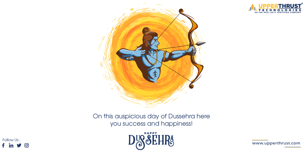 May goodness triumph over evil. Have a blessed Dussehra! We hope that you and your family are showered with positivity, Wealth and Success. Have a warm Dussehra! #Dussehra #upperthrust #besafe #mobileappdevelopment #festival #dussehra2020 #MobileApp #bestsoftware https://t.co/vCvR2n17oc