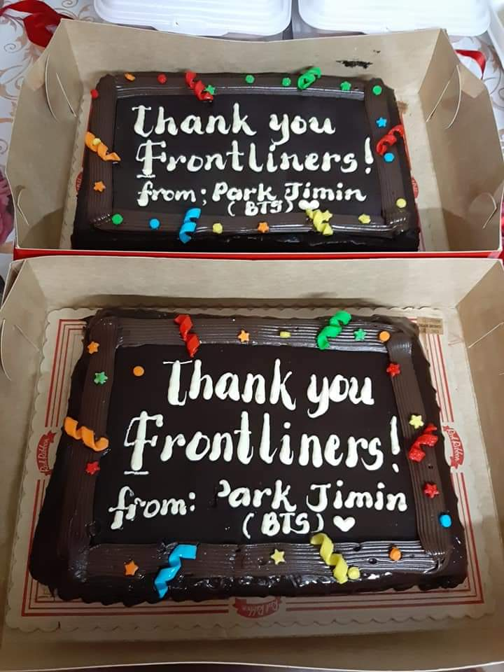 """2020 Park Jimin Birthday Project.  """" Thank you, Our Frontliners""""👨⚕️👩⚕️  Food packs and cake were given to our heroes at Jose Reyes Medical Center & San Lazaro Hospital.  Thank you to all who participated on our Cup sleeve event and for all the donations.💛💕💞 https://t.co/WVuT1WbR2L"""