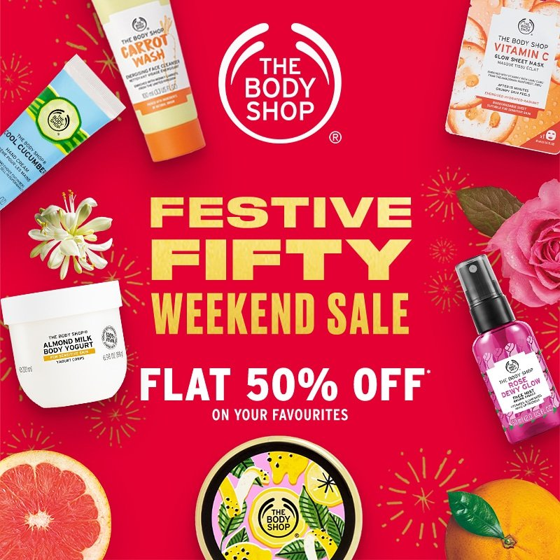 Start your festive season with double happiness at half the price at The Body Shop, @Amanoramall! The Body Shop Festive Fifty Weekend Sale is on with FLAT 50% off on your sparkling favourites! #AmanoraMall #72hrsSale  #WeekendSale #FestiveSale #thebodyshopindia #TBSInd #India