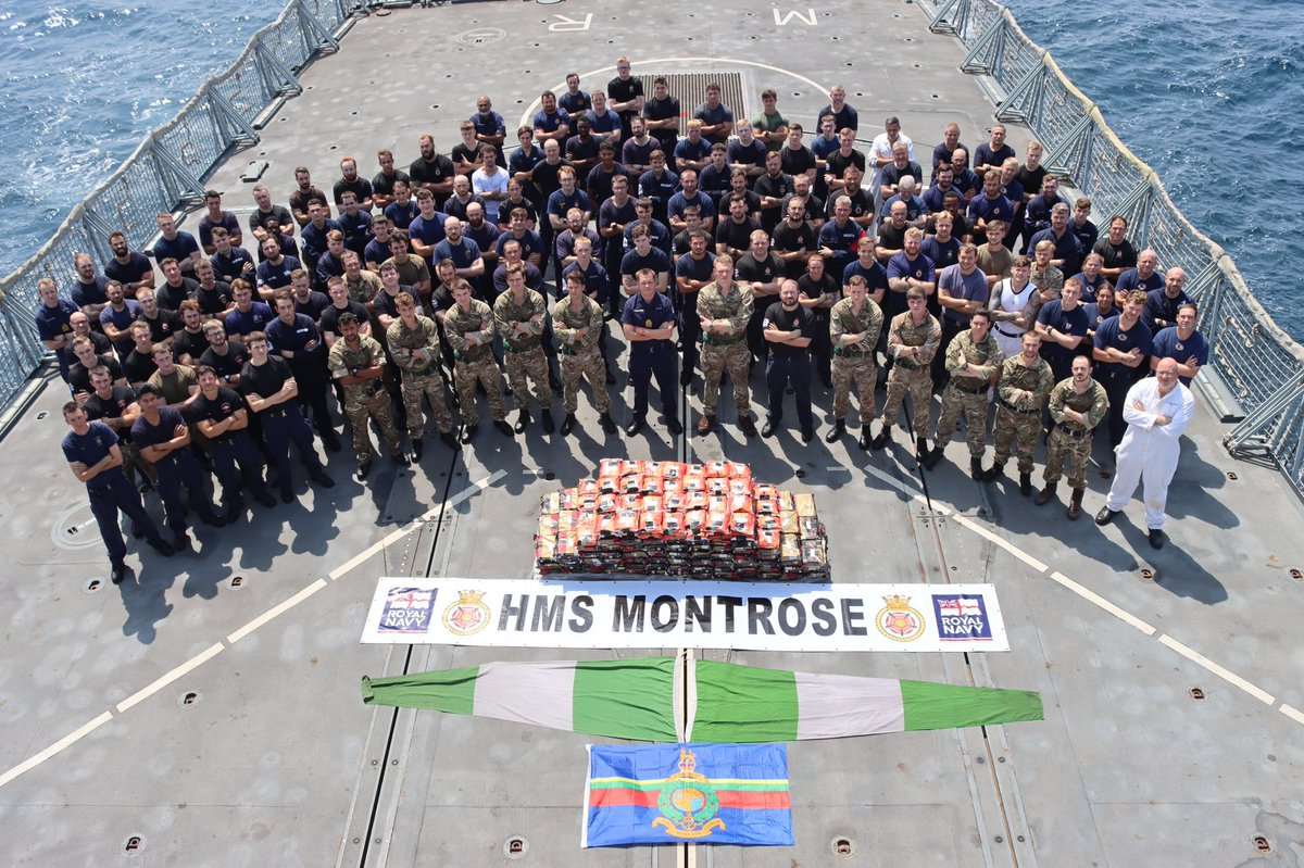 450kg of methamphetamine seized by the @RoyalNavy and @RoyalMarine Boarding Team of @HMSMontrose Starboard Crew during Op SEA SHIELD in the Gulf. @815NAS @42_commando @CMF_Bahrain #Wholeship
