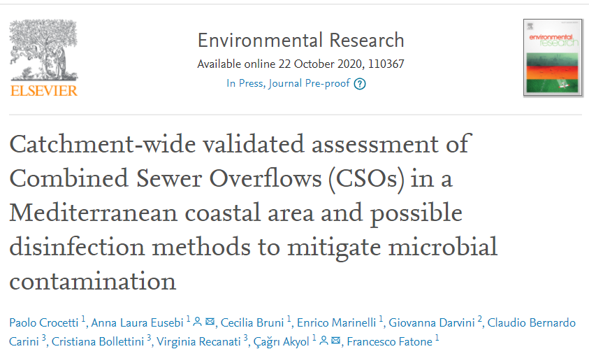 New paper published   Real environment analysis, evaluation, assessment and mitigation of COMBINED SEWER OVERFLOWs in coastal areas in Mediterranean basin (Porto San Giorgio - Italy)  Collaboration between @UnivPoliMarche and public #water utility CIIP   #urbanwater #bathingwater https://t.co/DxUWQQ2RKw