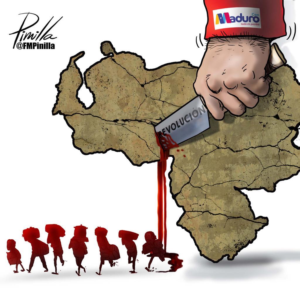 Venezuela desangrangrada... #dibujolibre para @DLasAmericas. #Venezuela #caminantes #Diaspora #Venezolanos https://t.co/k0rrL9ejxA