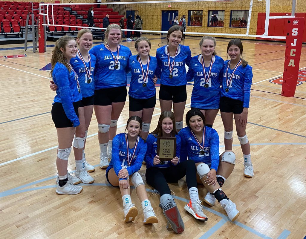 Congrats to the All Saints 8th Grade Volleyball Team on winning the WTCAA championship over San Jacinto in Amarillo. @AllSaintsPride @pchristy11 @Alexis_Cubit