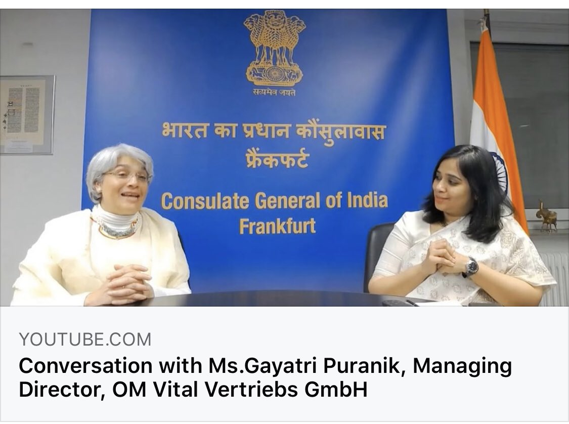 Live Now  Let's Connect: 9 #Women, 9 #SuccessStories  With Ms. Gayatri Puranik Gayatri Puranik, Managing Director, OM Vital Vertriebs GmbH.  https://t.co/2LfdnEQKRS  @MinistryWCD @MinOfCultureGoI @ICCR_Delhi @IndianDiplomacy @MEAIndia @eoiberlin @AmitTelang12 https://t.co/GIJh4VIcwV