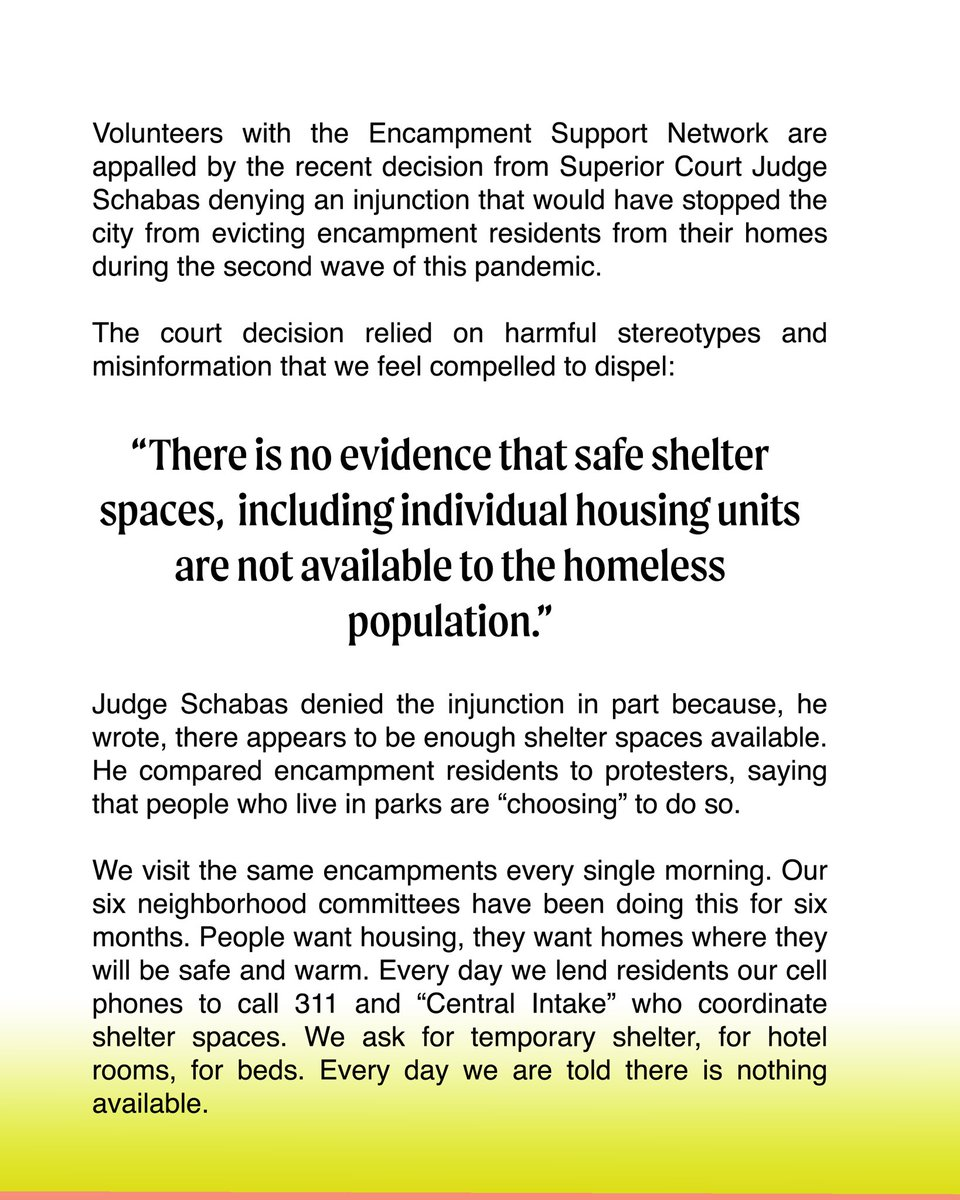 Torontos Encampment Support Network provides a reasoned critique of the bias in the Judges decision allowing campsites to be taken down. Where is all this available housing he speaks of???