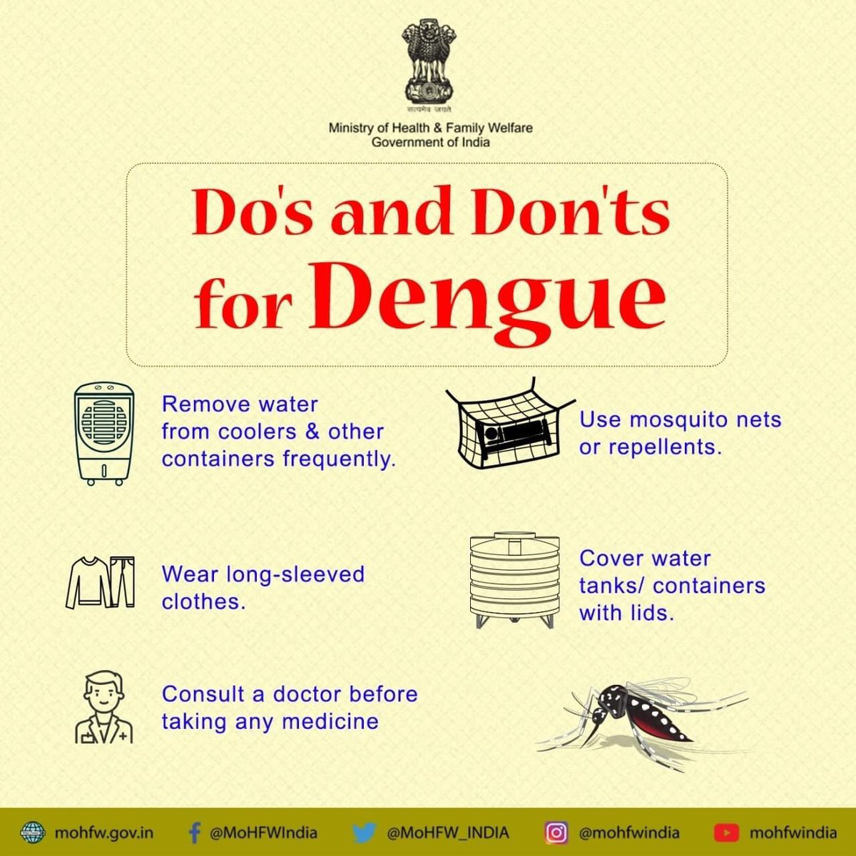 #COVID19 के चलते डेंगू को अनदेखा न करे।  इसकी रोकथाम संभव है। कुछ आसान से उपायों को अपनाकर, करें डेंगू से बचाव    https://t.co/hb3eanEeqg.   #SwasthaBharat #TransformingHealth #Dengue https://t.co/DTRQmZTQtX