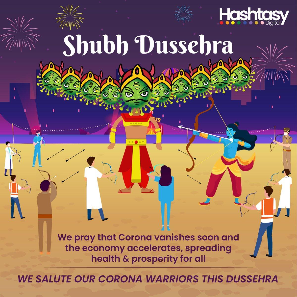 Wishing all our clients, friends, family and team Shubh Dussehra! #Hashtasydigital  #digitalagency #dussehra #dussehra2020 #ShubhDussehra #wishes #coronawarriors #salutewarriors #Coronavirus #letthevirusvanish #healthandprosperity #economy #economyaccelerates ##agencylife https://t.co/hMBlYt9e1u