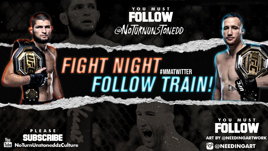 #UFC254  FIGHT NIGHT FOLLOW TRAIN!!🔥💯    1. RETWEET & LIKE this Post. 2. Follow Me, @needingartwork & MMA fans that RT/Like. 3. Drop your fight predictions below. 4. Watch your following grow & connect with new fans!🚆  Latest YouTube Video!!👇🏽✅ https://t.co/PbXHq71Cya https://t.co/MM1bZVjKrH