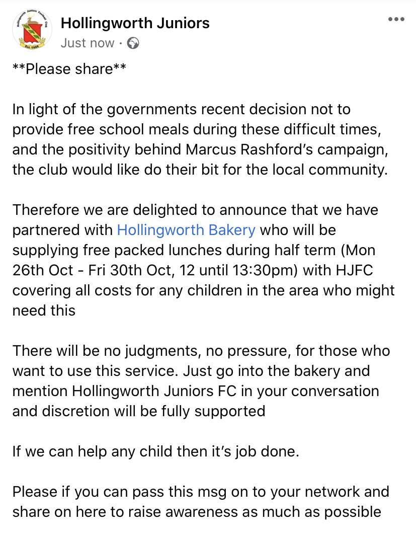 **Please share**  We want to help and do what we can as a local community club so if you feel this will help anyone in your network then please pass on @MarcusRashford @FootballGrf @TamesideSN @active_tameside   #hollingworth #community #MarcusRashford #freeschoolmeals https://t.co/dElJhoCTvh