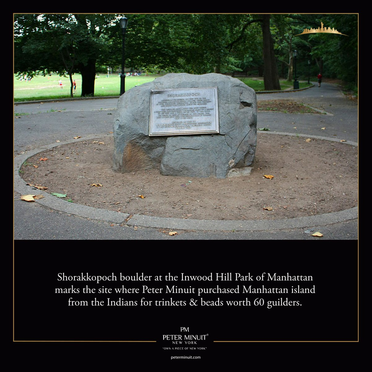 Shorakkopoch boulder at the Inwood Hill Park of Manhattan marks the site where Peter Minuit purchased Manhattan island from the Indians for trinkets & beads worth 60 guilders.  #PeterMinuit  #watches #soho #broadway #wallstreet #timessquare  #newyorkcity https://t.co/mV4DXJuXXx
