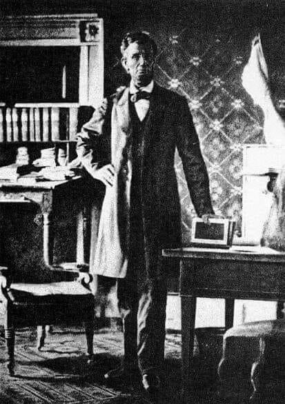 Lincoln in the White House in 1864. He's taking a break from his iPad. #History