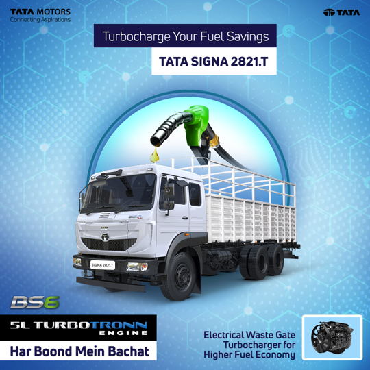 Tata Signa 2821.T maximises fuel efficiency powered by the 5L Turbotronn Engine with an Electrical Waste Gate Turbocharger that works super-efficiently to reduce your fuel consumption and expenses. #TataMotorsBS6Trucks https://t.co/1W6JOhBi88