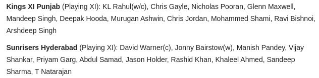 For #KXIP, IN - Mandeep Singh, Chris Jordan OUT - Mayank Agarwal, James Neesham  For #SRH,  IN - Khaleel Ahmed OUT - Shahbaz Nadeem  #KXIPvSRH #IPL2020 https://t.co/D8GaYC8nWp