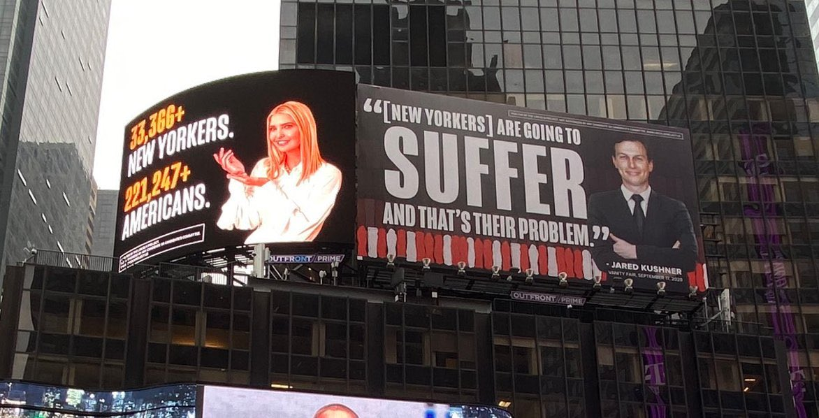 These @ProjectLincoln billboards are up in Times Square. #Jarvanka don't want you to see them. They are threatening to sue. It'd be such a shame if people decide to retweet it...