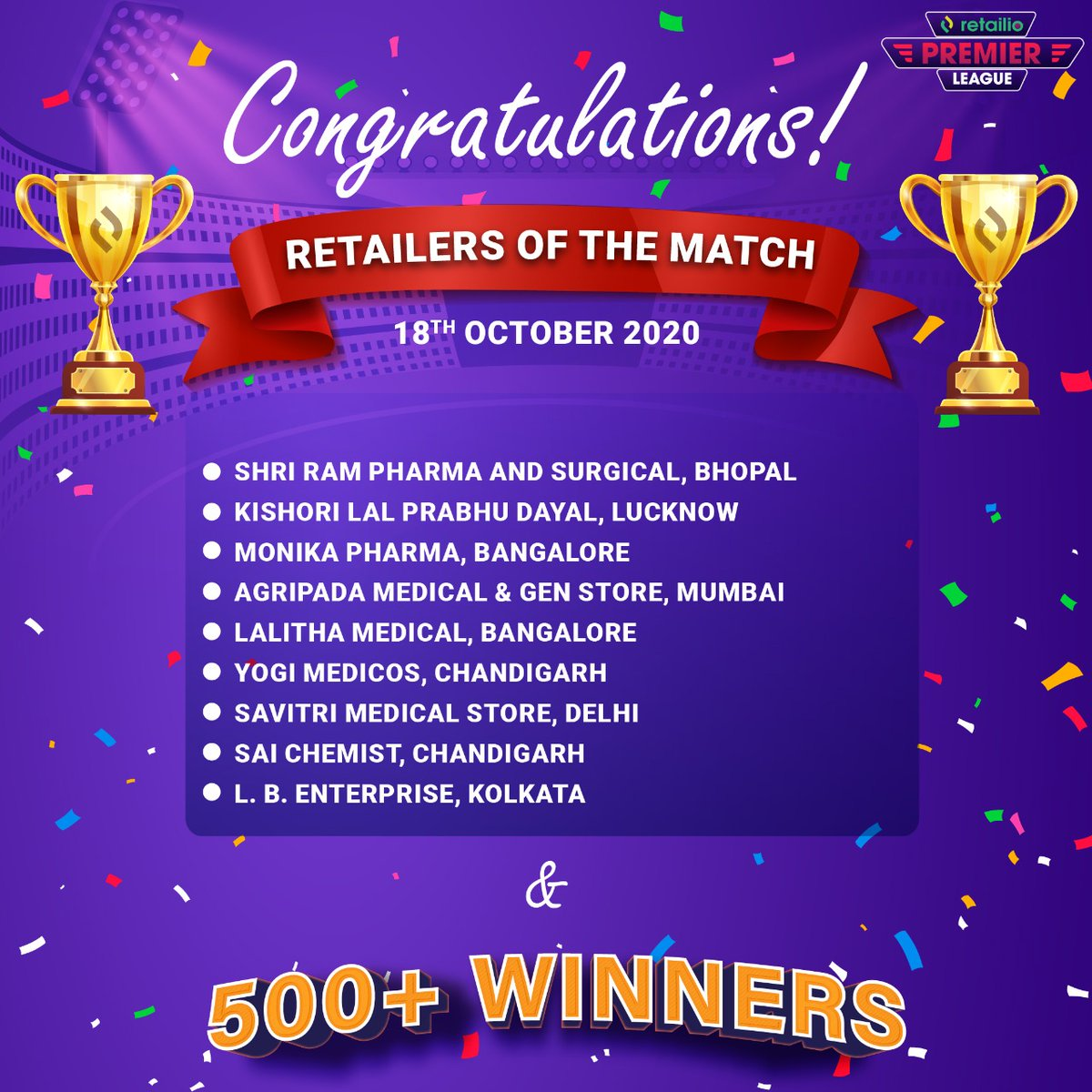 Congratulations to our Retailers of the Match & 500+ winners for the 35th & 36th match on 18th October 2020, #SRH vs #KKR & #MI vs #KXI  You too can win BIG by Scoring More in Retailio Premier League.   Login to your Retailio App for more details.  #RetailioPremierLeague #Winners https://t.co/ulFxKqdB02