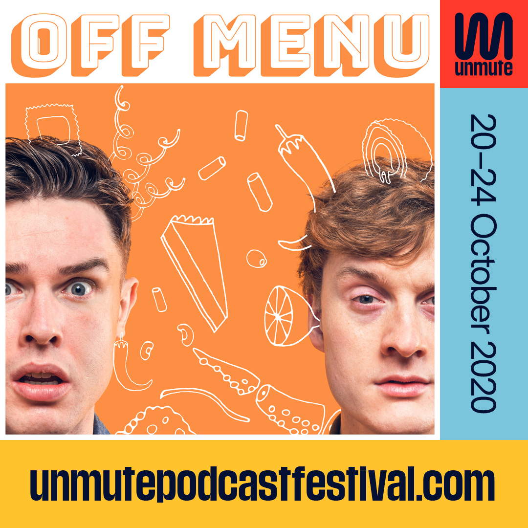 One hour to go until OFF MENU goes LIVE ONLINE with special guest DAVID ODOHERTY (@phlaimeaux) 4pm (BST) 🎟unmutepodcastfestival.com/whats-on/off-m…