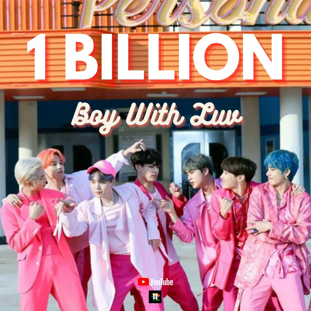 #BoyWithLuv MV has surpassed 1 billion views on Youtube becoming  #BTS's 2nd video to do so.   #BoyWithLuv1BILLION @BTS_twt https://t.co/8VG4IGLxSh