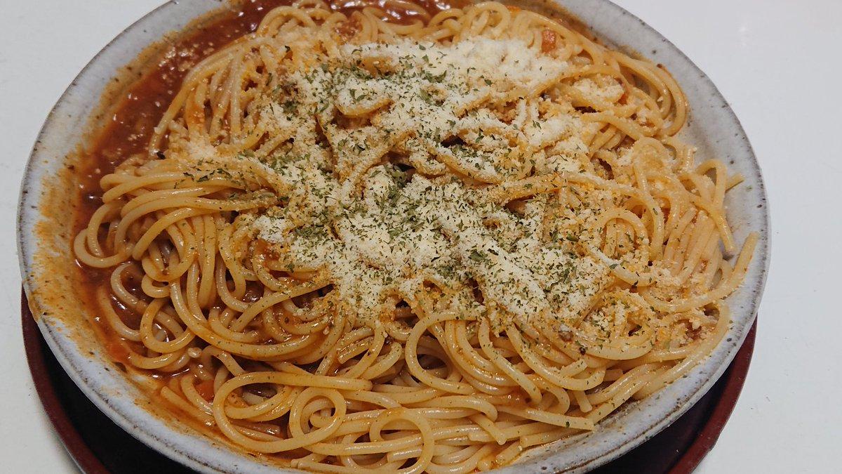 #夕食今日は、スパゲティ作りました。🍝