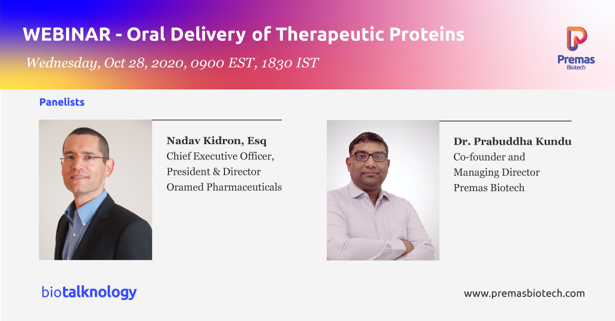#Biotalknology presents a two part webinar series, where we take the opportunity to interact with @NadavKidron, CEO, @OramedPharma to discover, understand & unravel the journey of Oral Insulin- from concept to a successful ph 3 candidate Click to register