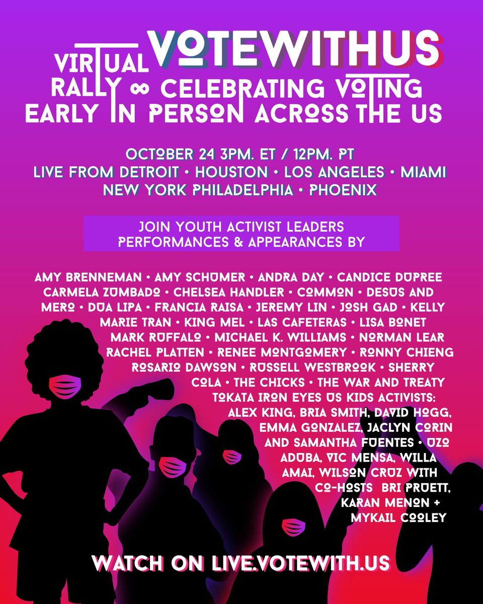 Today at 3pm ET/12pm PT, we're coming together for the #VoteWithUsRally as we celebrate power of voting early and in person across the US. #VoteEarlyDay   🔴 Watch the #VoteWithUs Rally: https://t.co/G5Ocw7CilZ https://t.co/CVlOnNNNpf